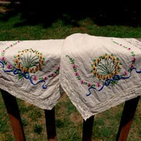 Vintage Embroidered Dresser Scarf- Lace Edge Table Runner- Multicolored Flowers Blue Ribbon- Table Linen - Shabby Chic Decor