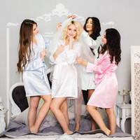 Bridesmaid robes under 30 usd, Cute wedding robes, Get ready gowns for bridesmaids, Satin robes, Bridal and bridesmaid robes, Morning robes