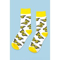 Yellow Butterfly Crew Socks