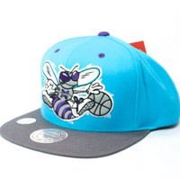 Mitchell & Ness Charlotte Hornets Big Logo Snapback Hat in Teal & Grey