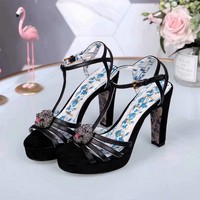Gucci Sandals Shoes 100mm Stiletto Heel Black Leather Casual Women Slippers