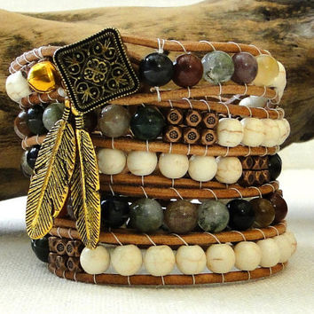5 five wraps chan luu leather bracelet boho indie ethnic surfer chic with Indian agate gemstone white turquoise beads & leaf pendants