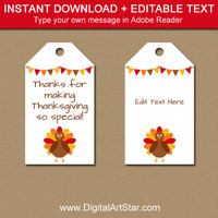 Printable Thanksgiving Tags - EDITABLE Thanksgiving Party Favor Tags - Thanksgiving Gift Tags - Turkey Tags - Instant Download Hang Tags