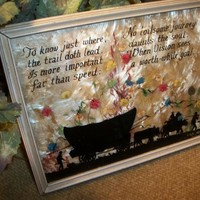 Wall Hanging Picture Reverse Glass Silhouette Photography Rare Antique F W Brehm Western Wagon Inspirational Poem Home Decor FREE SHIPPING