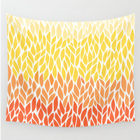 Wall Tapestry Orange Yellow Ombre Leaf Design Canary Pale Yellow Citrus Tangerine Pattern  Boho Bohemian Dorm Home Decor