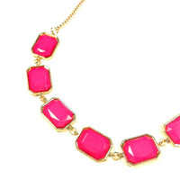 Pink & Gold Square Rhinestone Necklace