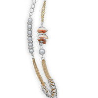 Two Tone Shell Theme Fashion Necklace and Earring Set