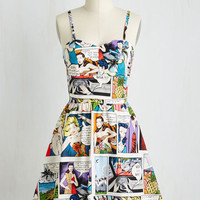 Mid-length Spaghetti Straps Fit & Flare So Jelly Dress in Comics