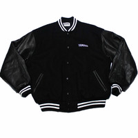 Vintage 90s Black Yamaha Letterman Jacket Made in USA Mens Size Large