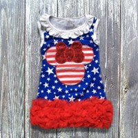 July 4th Minnie Mouse Inspired Ruffled Dress