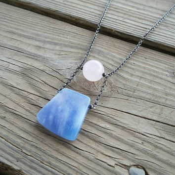 rose quartz & blue jade long pendant // rose quartz and serenity necklace // long pendant necklace // pink and blue stone jewelry // HEY09R