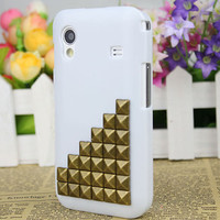 White Hard Case Cover With Bronze  Stud For Samsung Galaxy Ace S5830