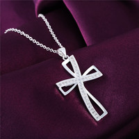 High quality Silver  cross pendant necklace with zircon fashion jewelry
