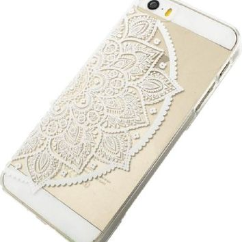 Plastic Case Cover for Iphone 5 5s 5c Henna Lotus Mandala Half Hindu Ganesh (For iPhone 5 5S)