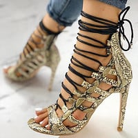 New 2020 summer European and American wind cross straps khaki snake texture shoes