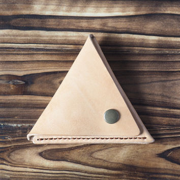 Leather Triangle Coin Purse #Natural Nude