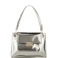 Christy Sectional Leather Shoulder Bag, Silver