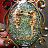 Mint Green KIssing Seahorse Specimen in Resin Cameo Necklace