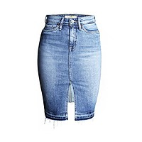 New Arrival Hot Fashion Front Opened Short High Waisted Ladies Jean Skirts