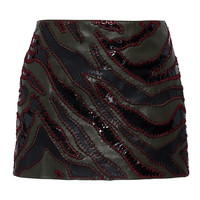 Army Green Patchwork Leather Mini Skirt | Moda Operandi
