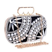 Finger rings double heart metal day clutches evening bags chain shoulder evening bags rhinestones beaded evening bag
