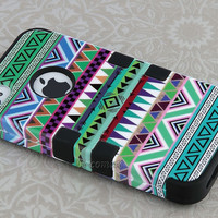 For iPhone 4 4S Hard 3-Piece Hybrid High Impact Aztec Tribal Case Cover + Stand