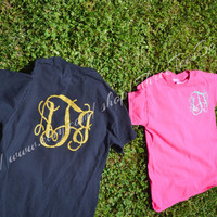 Glitter Monogram Short Sleeve T-Shirt Custom Sparkle Initials Tee Shirt Monogrammed Tee Glitter Over Sized Monogram T-Shirt Monogram Gifts