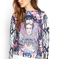 FOREVER 21 Frida Kahlo Sweatshirt Black/Multi