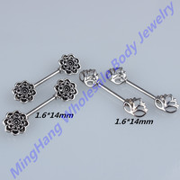 10pcs/lot 316L Stainless Steel Straight Bar Mandala With Lotus Flower Nipple Ring Barbell Piercing Jewelry