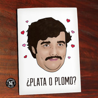 Plata O Plomo - Funny Valentine's Card - TV Show Valentines Card - Narcos Pablo Escobar - Red Pink and White Valentines - 4.5 X 6.25 Inches