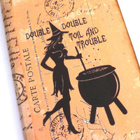 Witch Journal, Spell Book, Halloween Journal, Witch Notebook, Wiccan Journal, Halloween Notebook, Pretty Witch with Cauldron