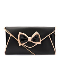 Black and Pink Bow Envelope Clutch