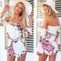 Off Shoulder Long Sleeve Floral Romper