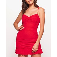 Final Sale - Sleeveless Ruffled Self Tie Strap Mini Ruched Bodycon Dress with Ruffle Trim in Red