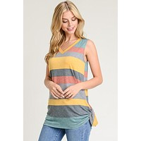 Striped Sleeveless Top - Mustard