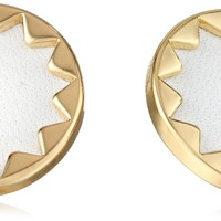 House of Harlow 1960 Sunburst Gold-Plated and White Leather Button Earrings