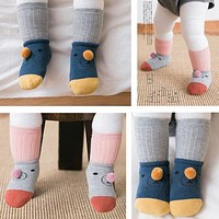Born Infant Baby Spring And Autumn Anti-slip Socks Boys Girls Cute Cartoon Cotton Toddler Socks Suitable For 0-3 Years Old