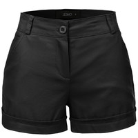 LE3NO Womens Casual Mid Rise Summer Shorts with Pockets (CLEARANCE)