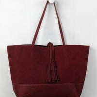 Reversible Suede And Leather Tassel Tote Bag