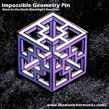 Impossible Geometry Pin - Purple Complex Cube - Glow-in-the-Dark/Blacklight Reactive- Sacred Geometry