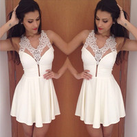 White V-Neck Mesh Crochet Lace Accent Pleated Mini Dress