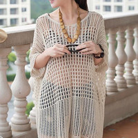 Light Brown Loose Fitting Long Sleeve Crochet Cover Up Dress