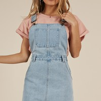 All My Friends Overall dress in Blue Wash Produced By SHOWPO