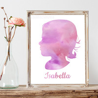 Custom Child Silhouette Watercolor Printable Mother's Day Gift for Wife Gift for Grandmother Gift for Mom Personalized Silhouette Baby Decor