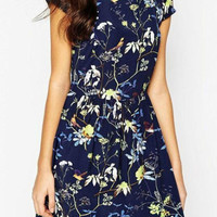 Navy Floral Short Sleeves Pleated Mini Dress