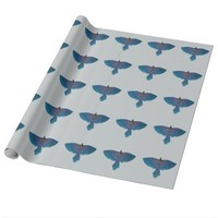 Colorful Blue Parrot Open Wings Wrapping Paper