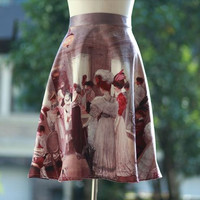 FineArt Collection Vintage mid age style court party oil painting purple skirt