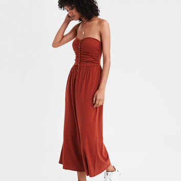 AE Button Front Jumpsuit, Rust