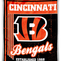 """Bengals National Football League 50""""""""x60"""""""" Mink with Sherpa Throw, """"""""Old School"""""""" series"""