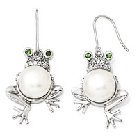 Cheryl M Sterling Silver Simulated Emerald Pear CZ Frog Earrings